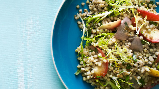 Warm Buckwheat Salad with Roasted Shallots, Apples, and Frisee