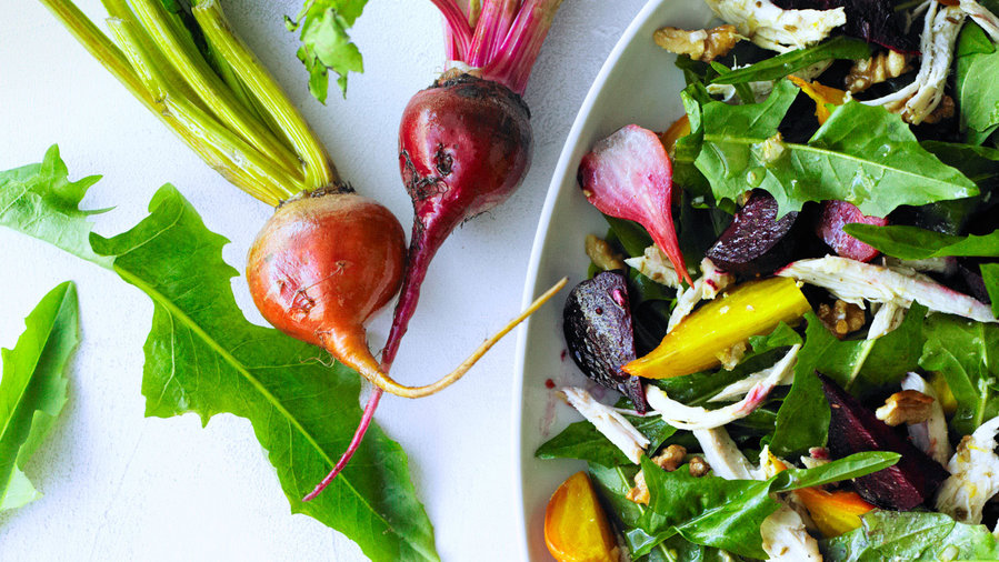 Chicken salads: Chicken Salad with Roasted Beets and Dandelion Greens (0412)