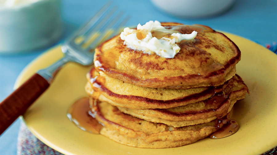 Pumpkin-Ginger Pancakes with Ginger Butter