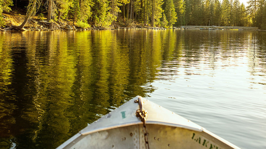 Boat on Huntington Lake in the California Sierra Nevada