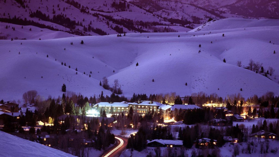 Scenic view of snowy Sun Valley Resort at dusk