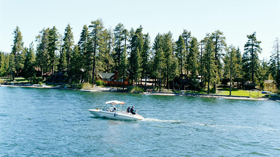 Big Bear Lake fishing and swimming scene