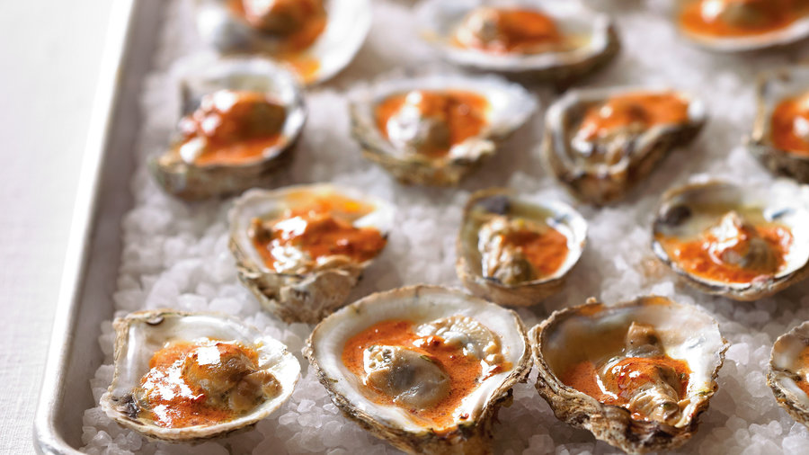 Barbecued Oysters with Chipotle Glaze
