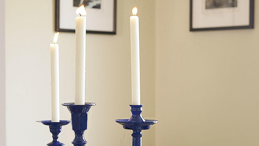 Glossy repainted candlesticks