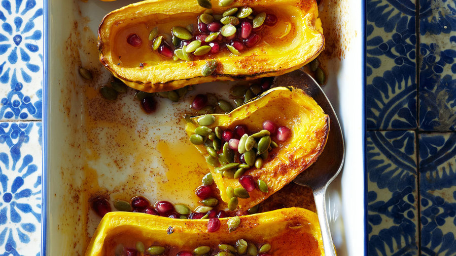 Fusion: Roasted Delicata Squash with Honey, Pomegranate Seeds, and Pepitas (1112)