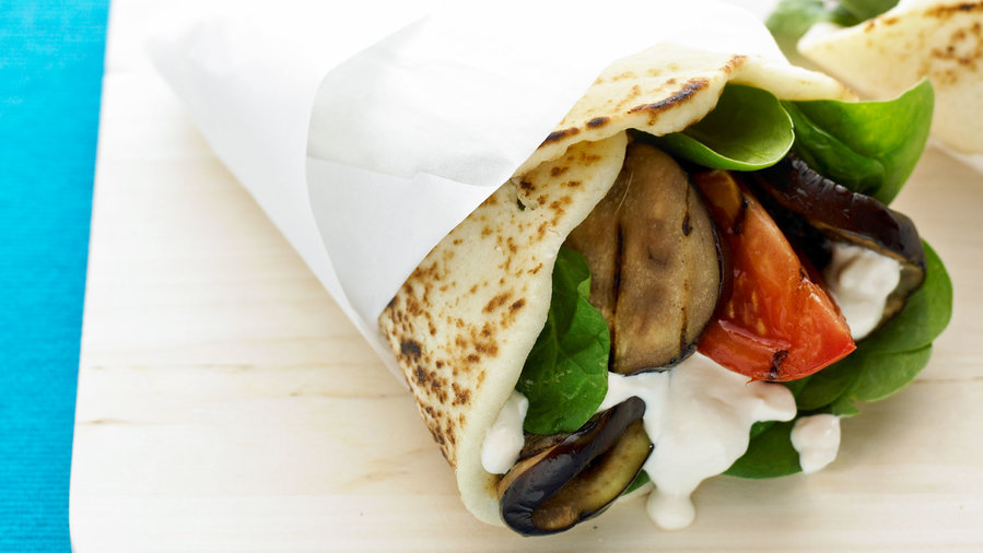 F&F vegetarian: Grilled Eggplant Naan Wraps with Tahini-Yogurt Dressing