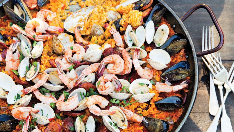 Paella potluck party