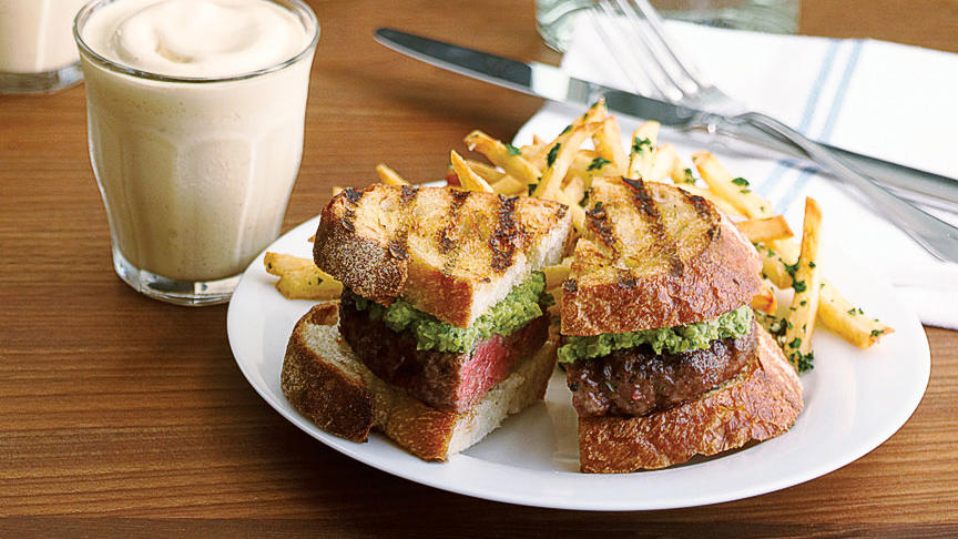 Lamb Burgers with Pea and Mint Relish