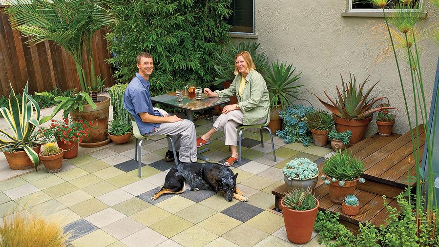 Budget patchwork patio