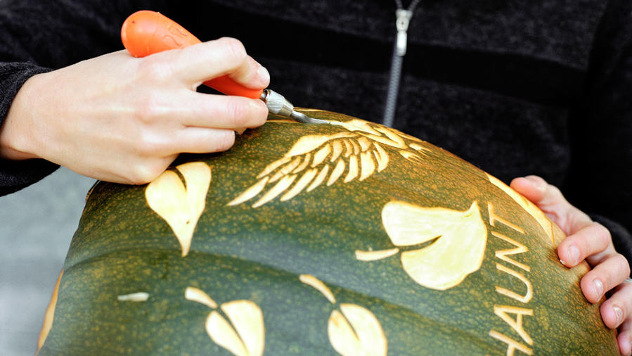 Artist Nikki McClure demonstrates pumpkin carving