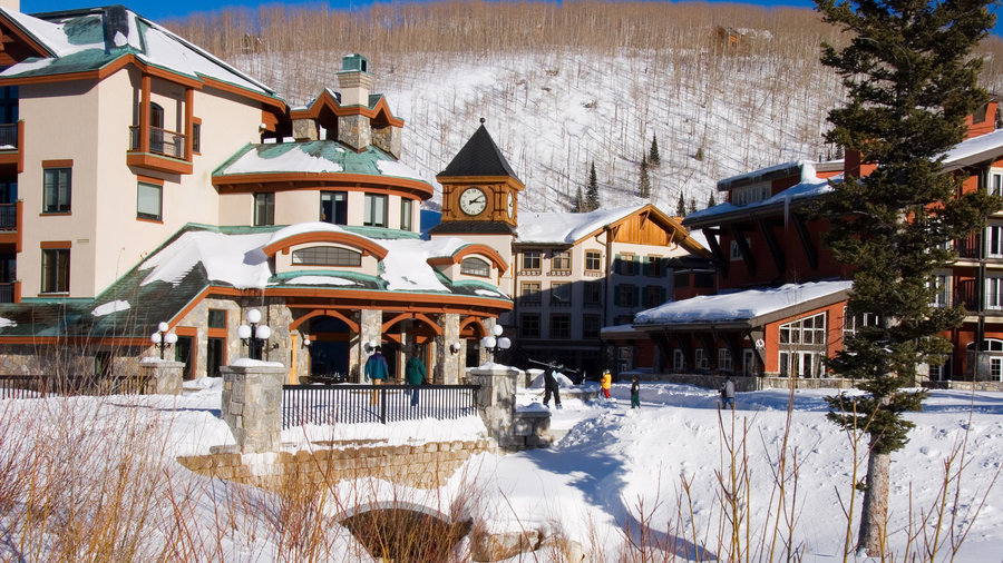 Charming village covered in snow at Solitude Mountain Resort