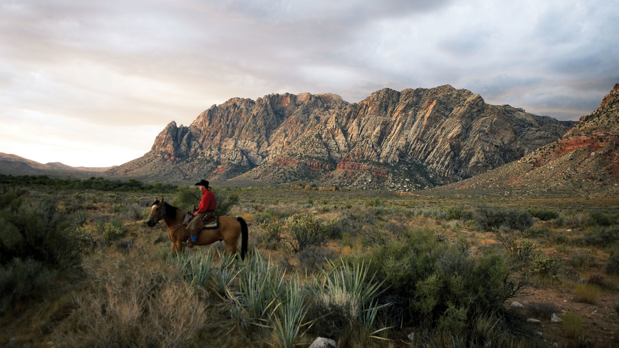 Man horseback riding at Red Rock Canyon National Conservation Area near Las Vegas, NV
