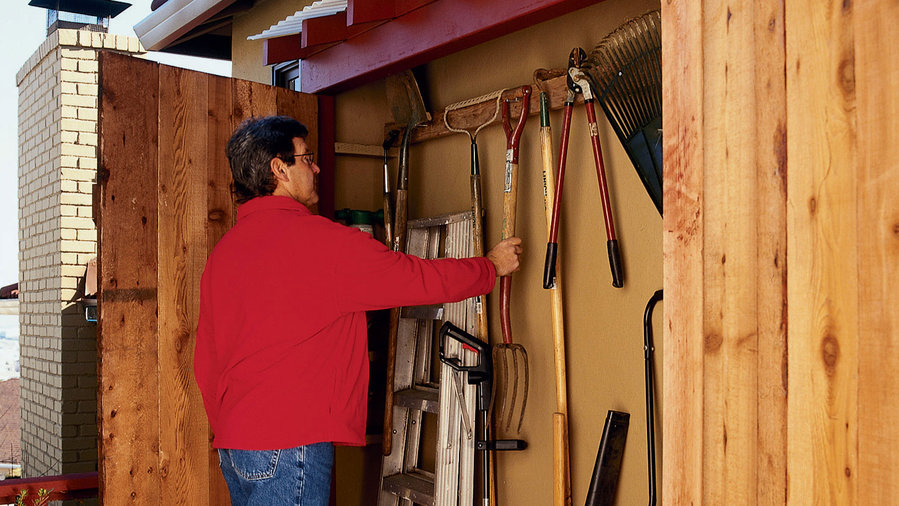 Under-eaves storage shed