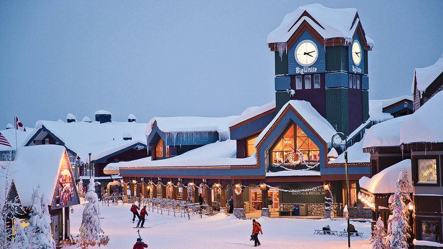 Snow-covered village at Big White in B.C.