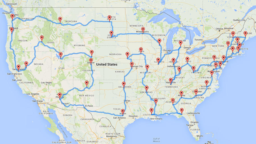 Man In The United States Map.This Man Planned The Most Efficient U S Road Trip Of All Time