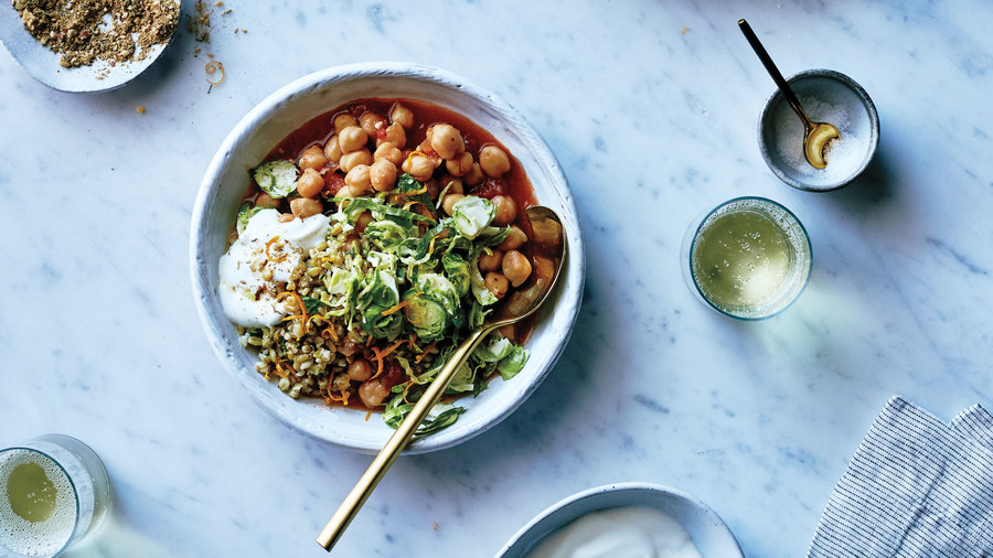 Saffron Tomato Chickpeas, Freekeh, and Brussels Sprouts