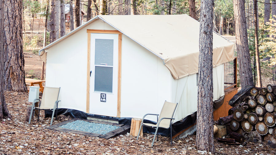 Glamping tent in a campground in Nevada City, California