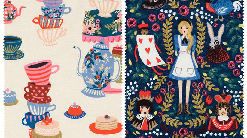 Rifle Paper Co. Alice in Wonderland textiles: Tea party