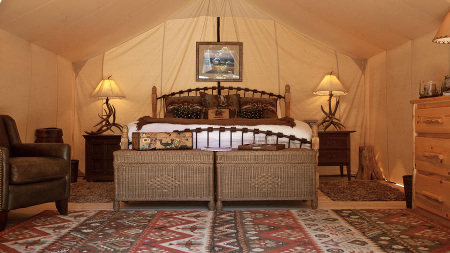 Tent camping redefined: Feather beds