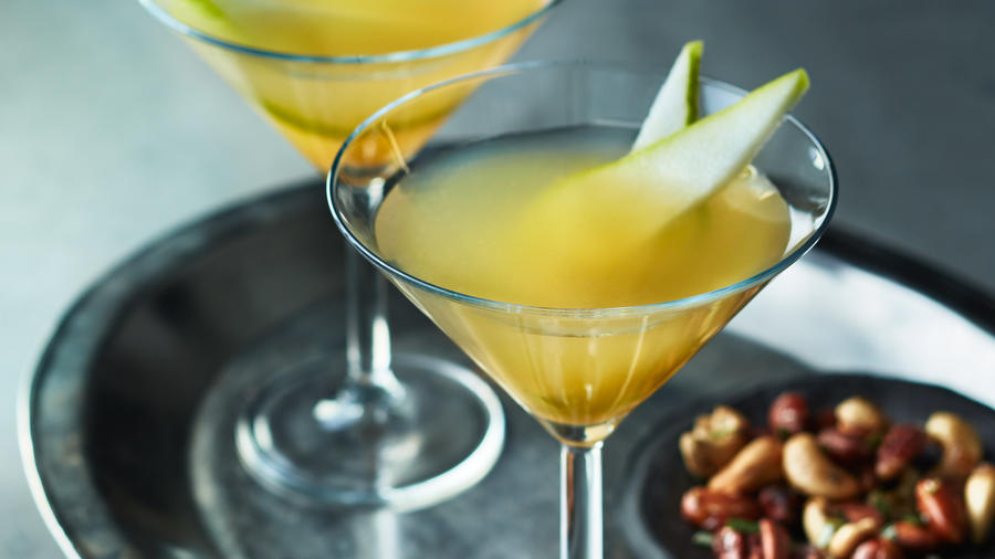 Pear Sidecar with Caramelized Pear and Sage Crostini