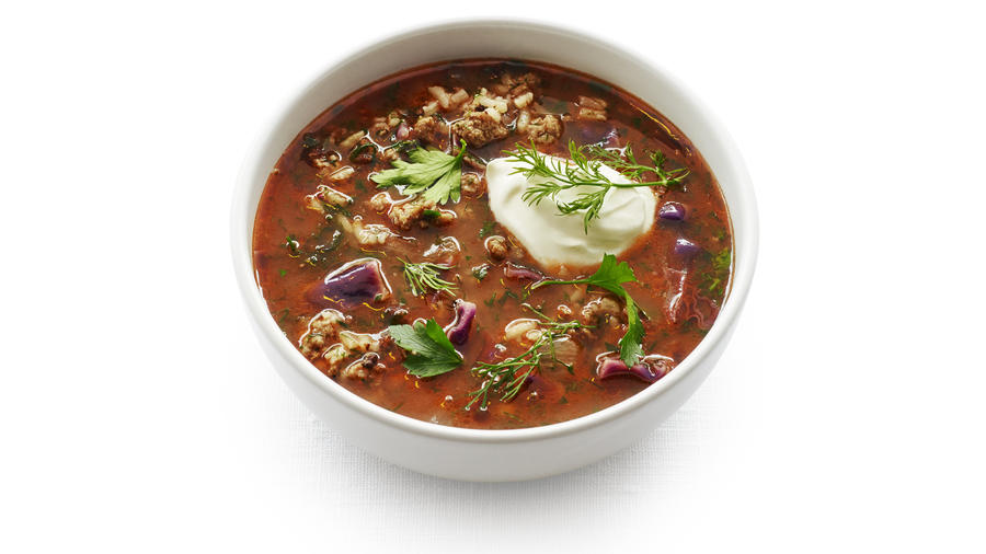 Red Cabbage and Beef Soup with Rice
