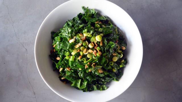 Thanksgiving Potluck: Kale Salad with Hot Cider Vinaigrette