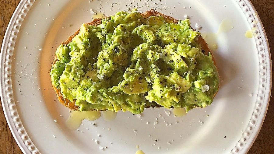 The 1-minute avocado toast: sourdough + mashed avocado + freshly ground pepper + flaky sea salt + lots of extra-virgin olive oil (all photographs by Margo True)