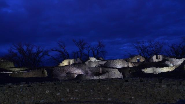 For one night every December, Aztec Ruins National Monument's adobe bricks are lit up for the holidays at the Evening of Lights. (Aztec Ruins National Monument)
