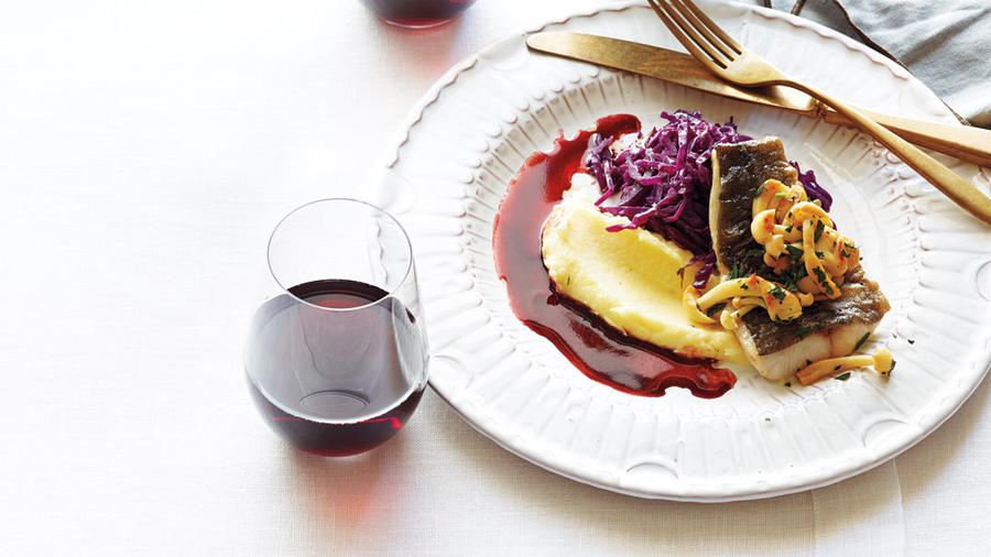 Black cod with red cabbage and pomegranate brown butter (Annabelle Breakey / Sunset Publishing)