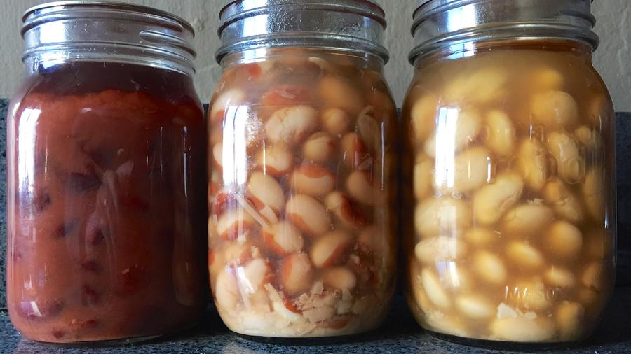 A pantry full of home-canned beans means more variety and less expense than buying them at the store. Photograph by Sean Timberlake.