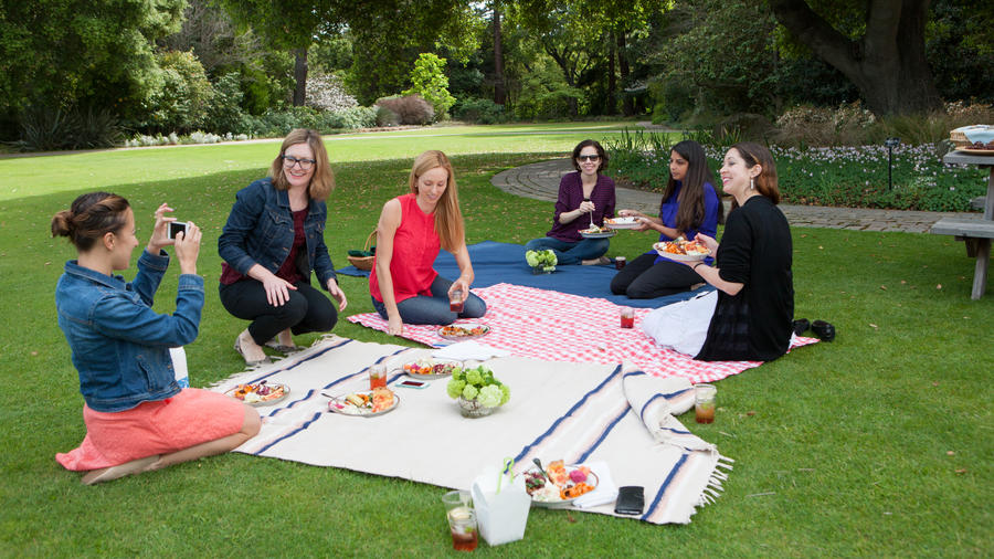 The Sunset Cookbook Club, picnicking on the lawn at our offices.