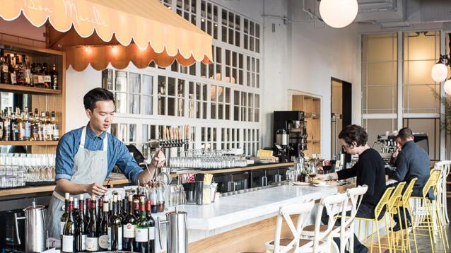 Bon Marché Brasserie & Bar brightens up the Twitter building. (Drew Kelly / Sunset Publishing)