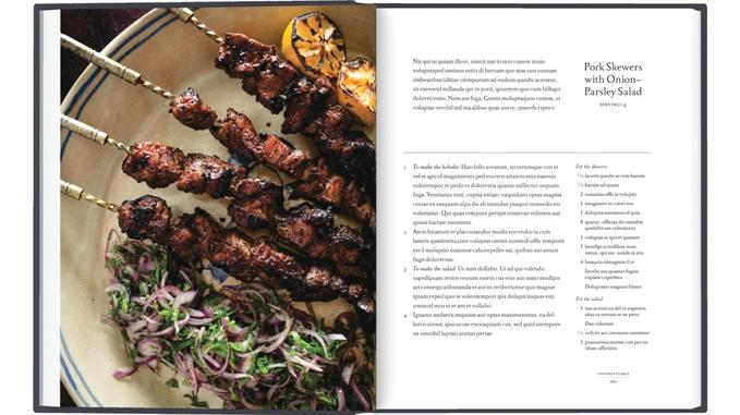 Grilled pork skewers in a tangy-sweet marinade of pomegranate molasses and dill, a dish from the Caucasus mountains of Central Asia, from Paula Wolfert's upcoming culinary biography. (Photo courtesy Paula Wolfert and Emily Kaiser Thelin)