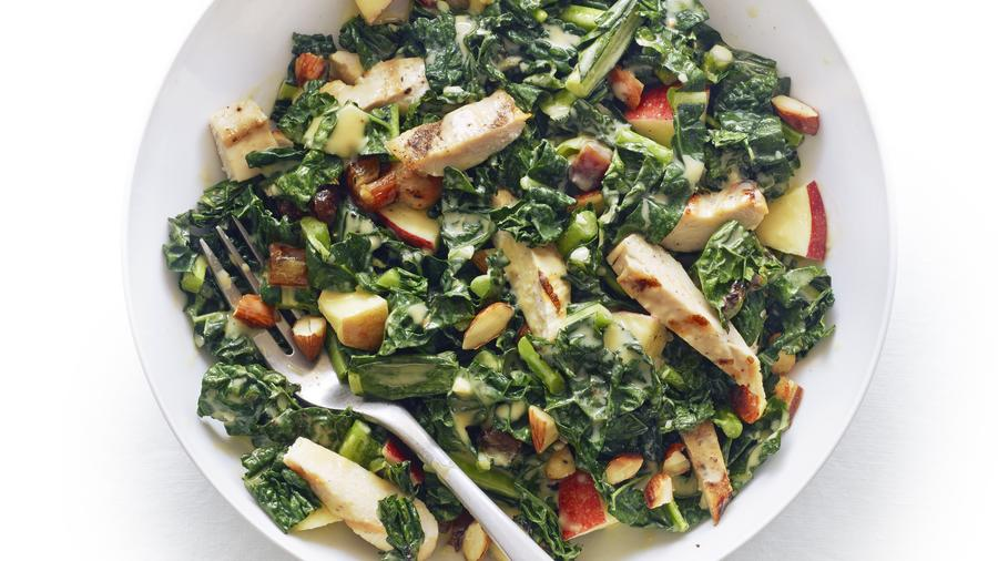 Sunset's grilled chicken and kale salad with tahini lemon dressing