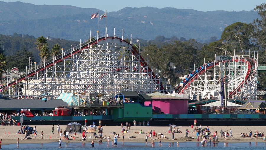 Thrills plus Pacific views: The Giant Dipper towers above the Santa Cruz boardwalk. (Photo by the Santa Cruz Beach Boardwalk.)