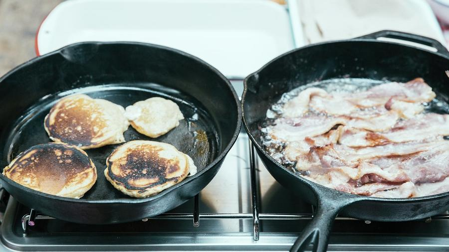 Cast-iron skillets are great for cooking at camp—but require a bit extra TLC to clean. (Photos by Tom Story.)
