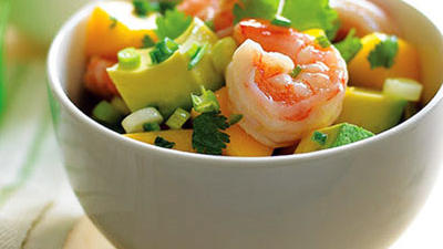 Avocado, mango, & shrimp salad