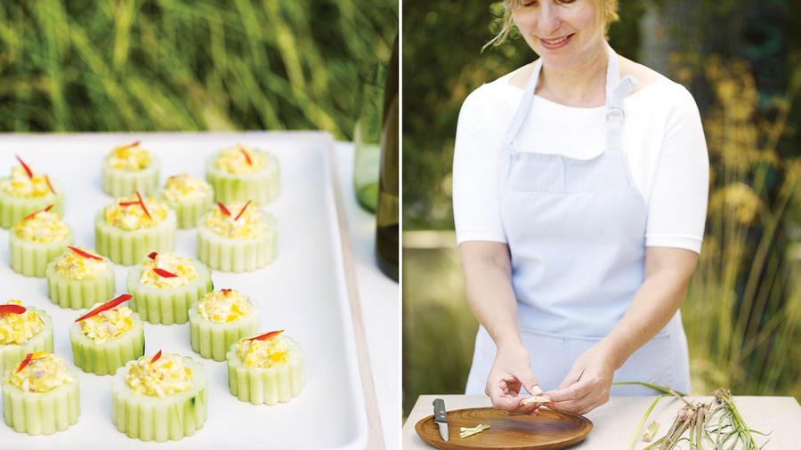 Deviled cucumber cups (left); Food editor Margo True preparing the feast (right)