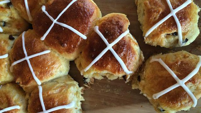 Hot cross buns, going fast
