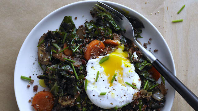 Red Quinoa Bowl with Swiss Chard and Poached Egg Photo by Iain Bagwell