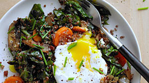 Sunset's red-quinoa bowl with swiss chard and poached egg—one of the many recipes I'm vowing to master this year!