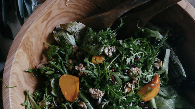 Chicories Salad with Persimmons in the SHED xxx Bowl. (Thomas J. Story)