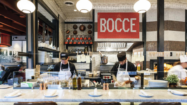 Neapolitan pizzas take shape at Bocce. (Lisa Corson / Sunset Publishing)