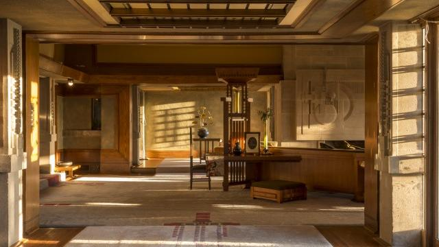 The living room of Frank Lloyd Wright's Hollyhock House. Photographs by JW Pictures.