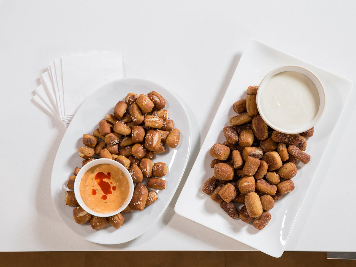 Salty or Sweet Pretzel Bites with Dips