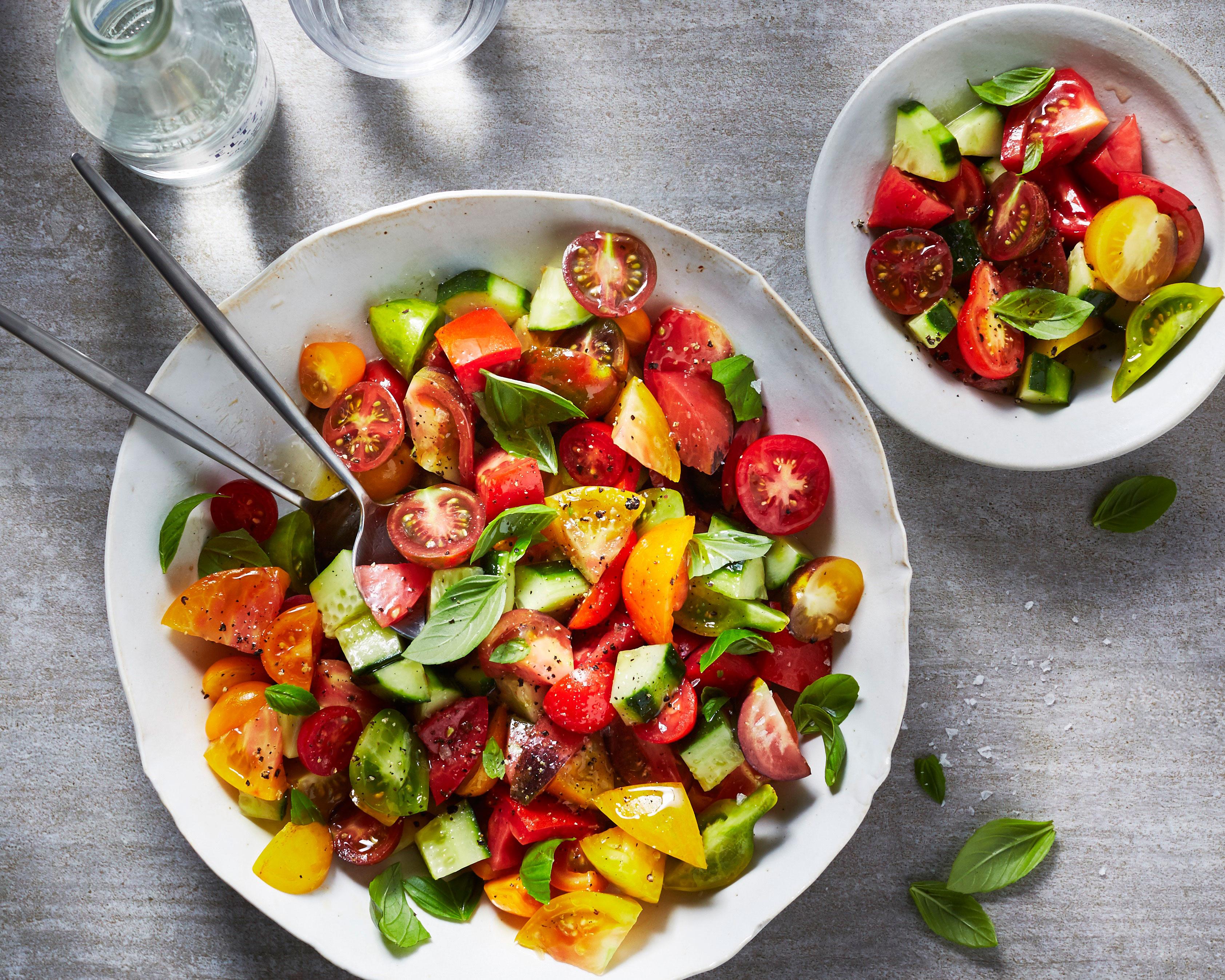 su-Tomato, Cucumber, and Basil Salad