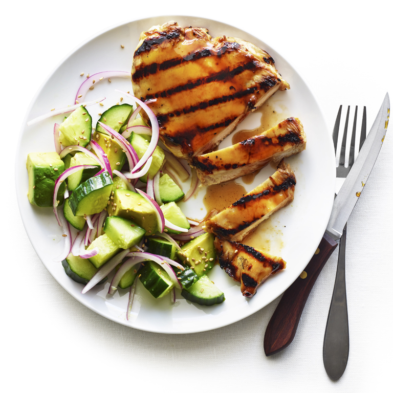 Yakitori Chicken Paillard Cucumber Avocado Salad Recipe Sunset Magazine
