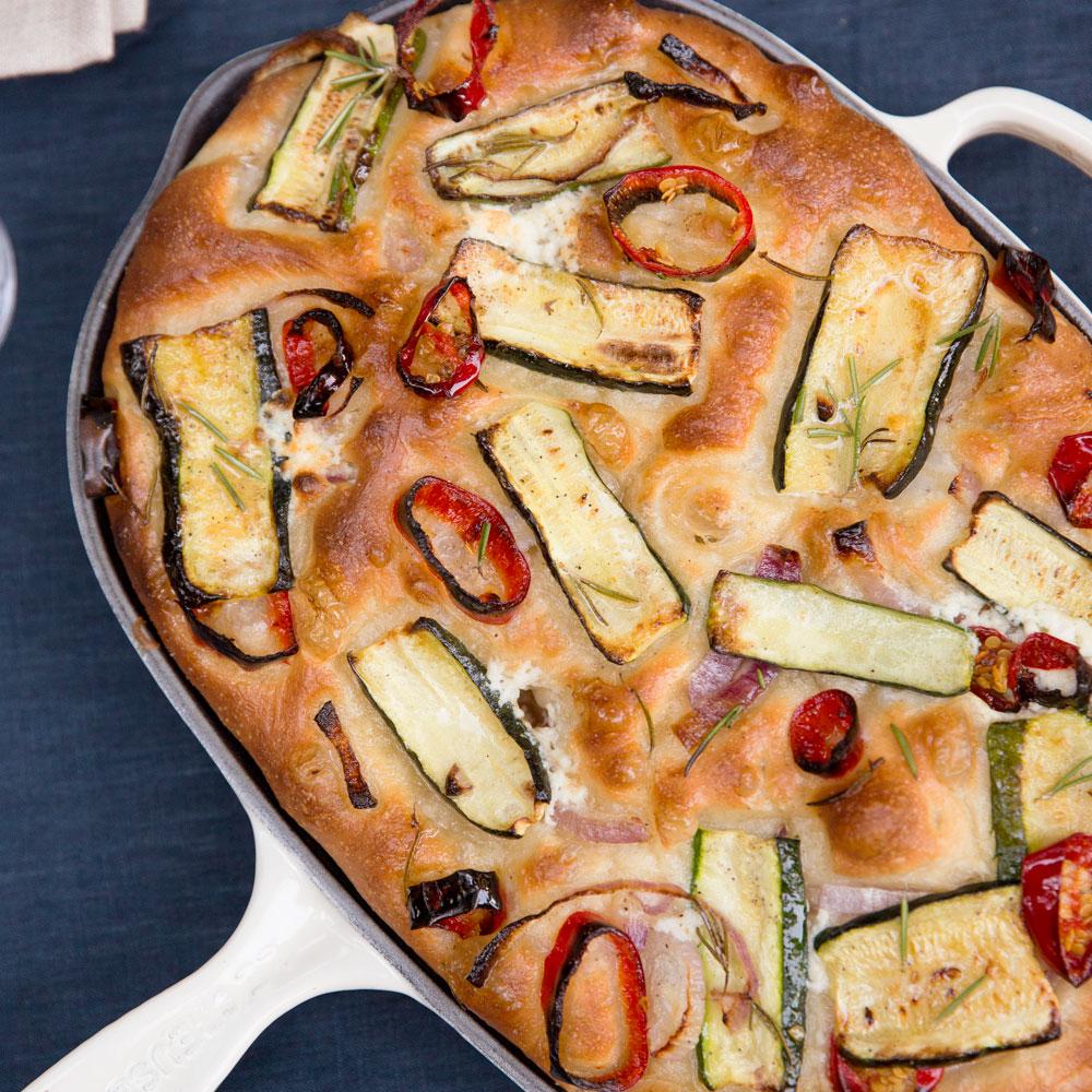 su-Zucchini, Red Onion, and Ricotta Focaccia Image