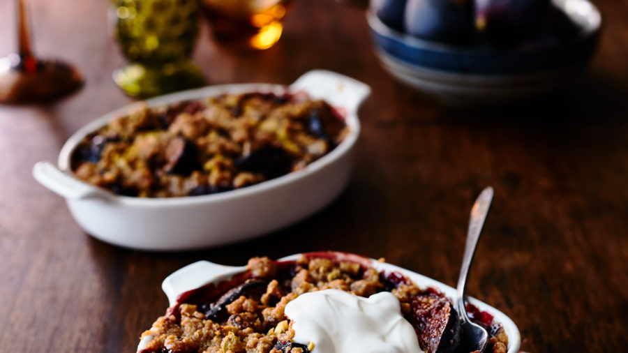 Fig Crisps with Buttery Nut Streusel
