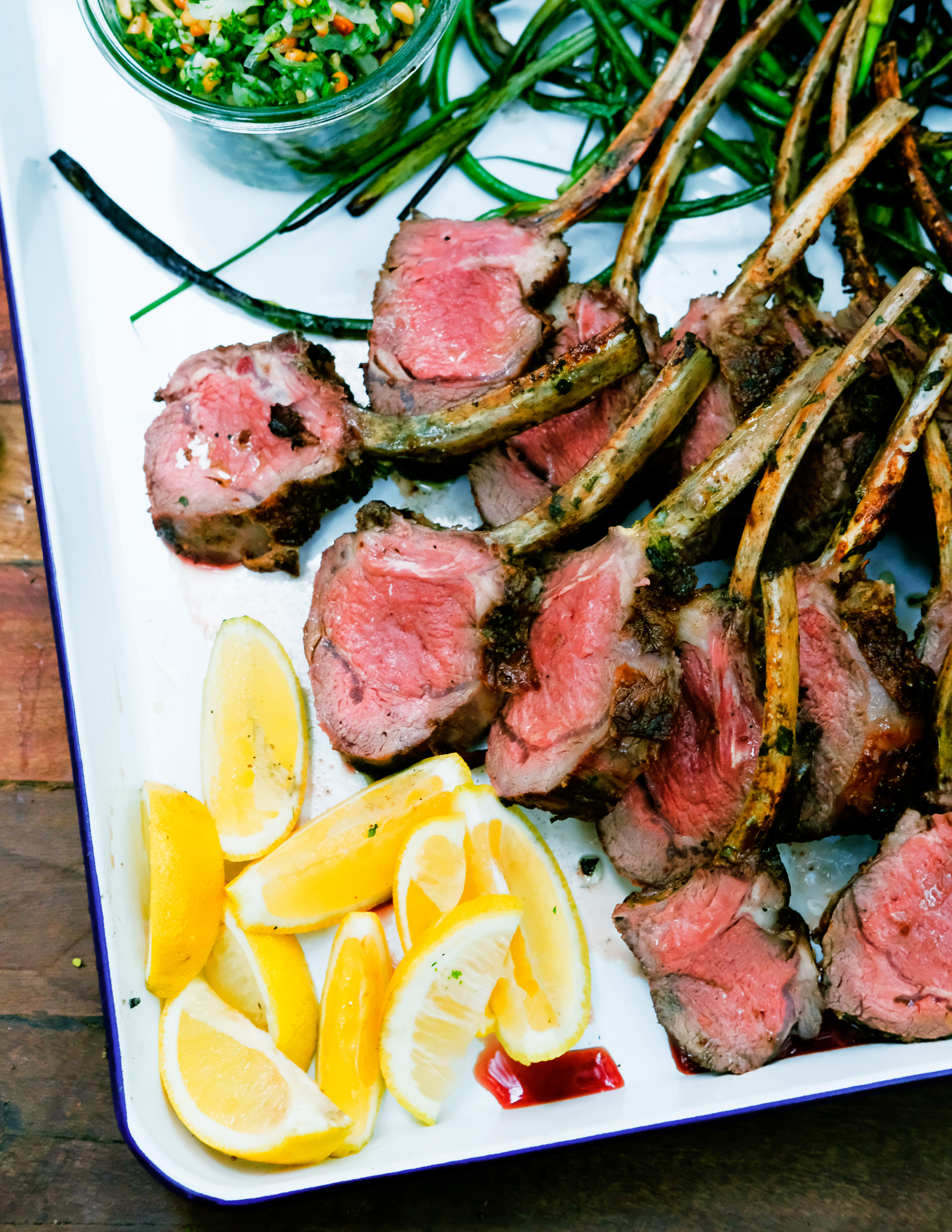 Grilled Lamb Chops with Pine Nut Salsa Verde